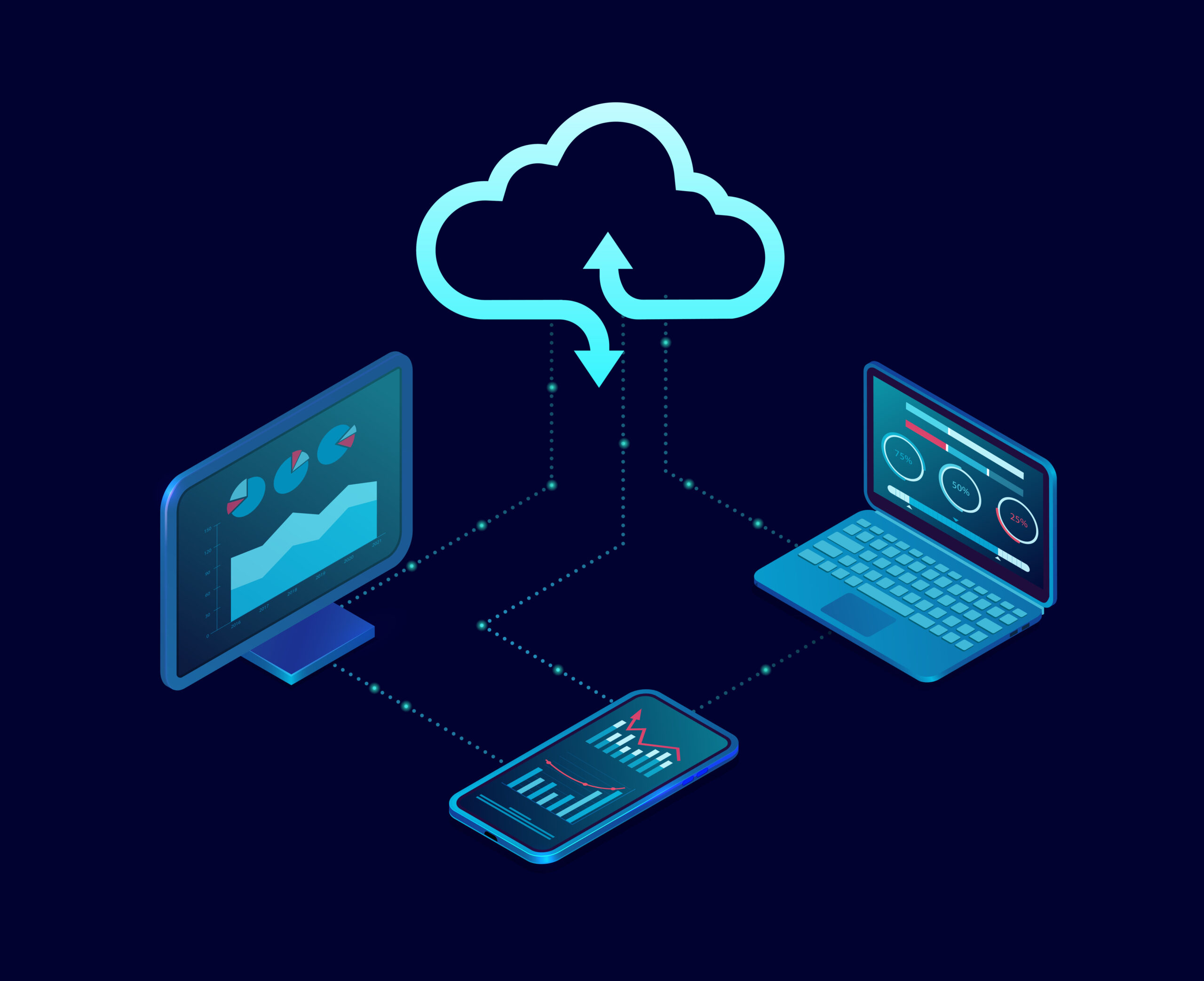 Vector of a desktop computer and mobile devices connected to cloud server service